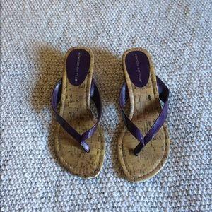 Purple wedge heel sandals
